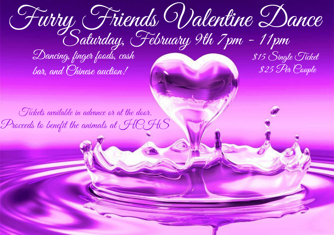 Come join us Saturday Feb.9th from 7pm-11pm. Enjoy music by Soul Injection, a chinese auction, finger food and cash bar. All to benefit our fur friends at the Herkimer County Humane Society.